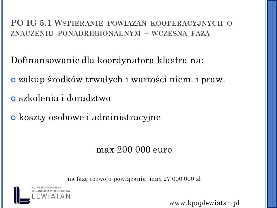 www.kpoplewiatan.pl PO IG 5.1 W SPIERANIE POWIĄZAŃ KOOPERACYJNYCH O ZNACZENIU PONADREGIONALNYM – WCZESNA FAZA Dofinansowanie dla koordynatora klastra na: zakup środków trwałych i wartości niem.