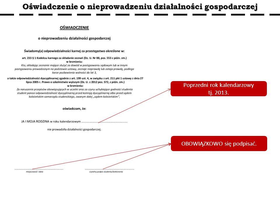 Oświadczenie o nieprowadzeniu działalności gospodarczej Poprzedni rok kalendarzowy tj.