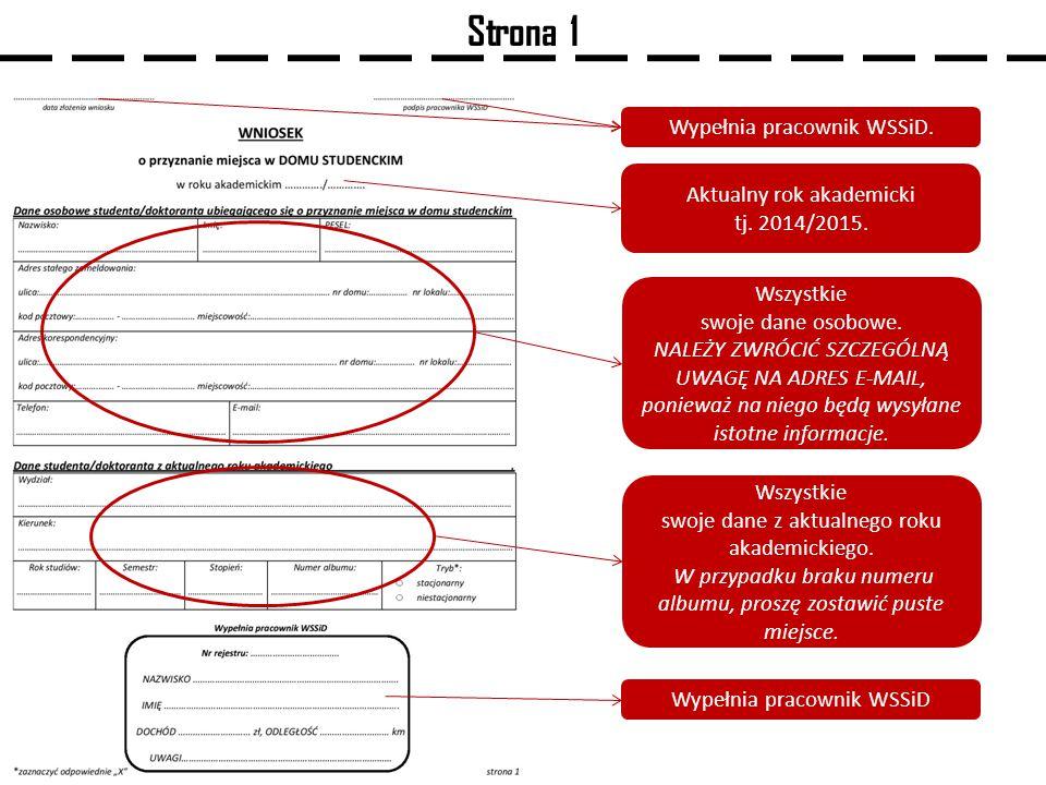 Strona 1 Wypełnia pracownik WSSiD.Aktualny rok akademicki tj.