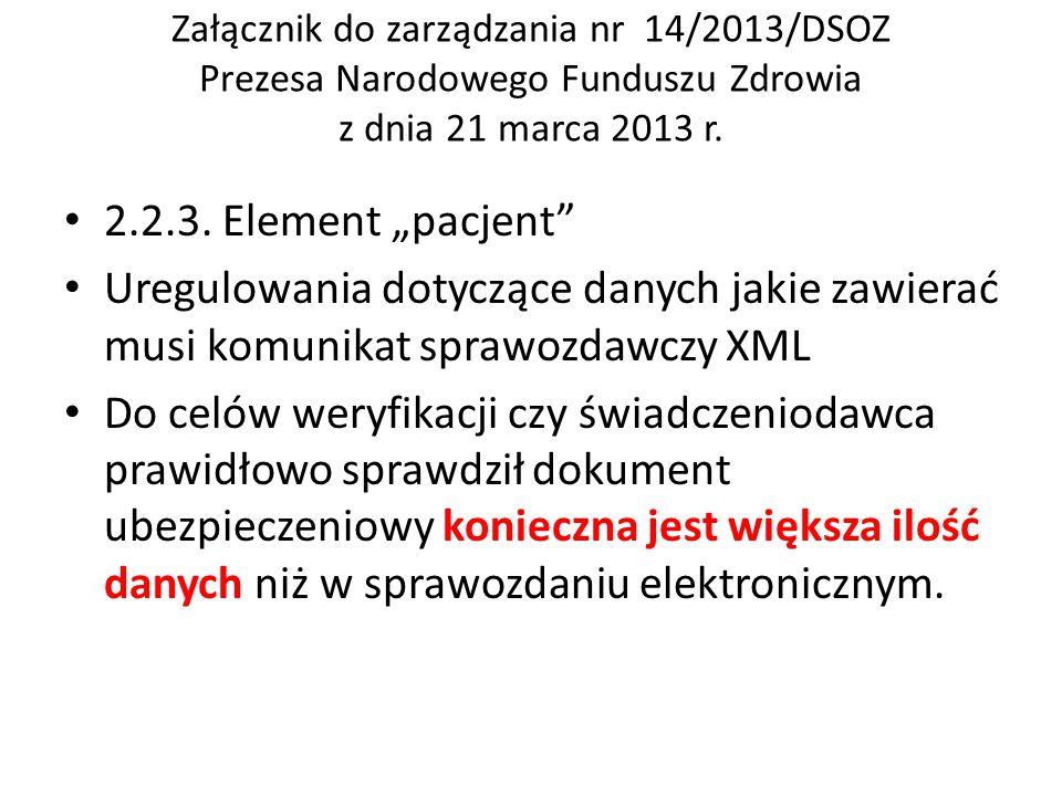 """Załącznik do zarządzania nr 14/2013/DSOZ Prezesa Narodowego Funduszu Zdrowia z dnia 21 marca 2013 r. 2.2.3. Element """"pacjent"""" Uregulowania dotyczące d"""