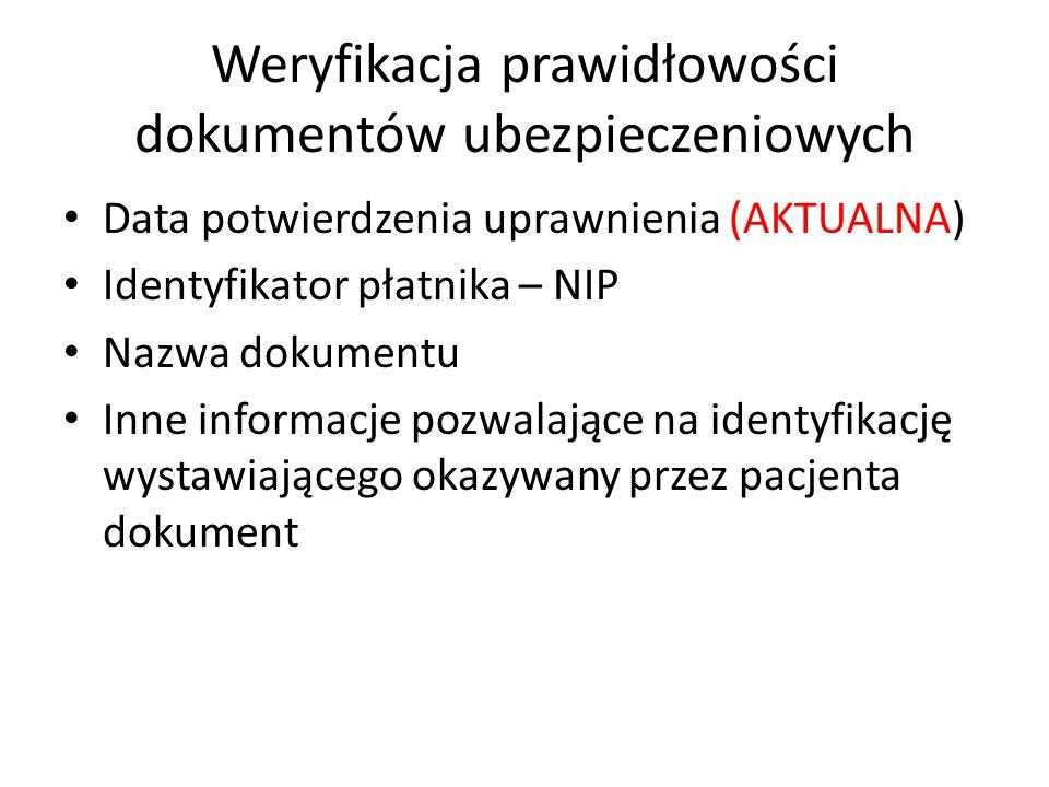 Weryfikacja prawidłowości dokumentów ubezpieczeniowych Data potwierdzenia uprawnienia (AKTUALNA) Identyfikator płatnika – NIP Nazwa dokumentu Inne inf