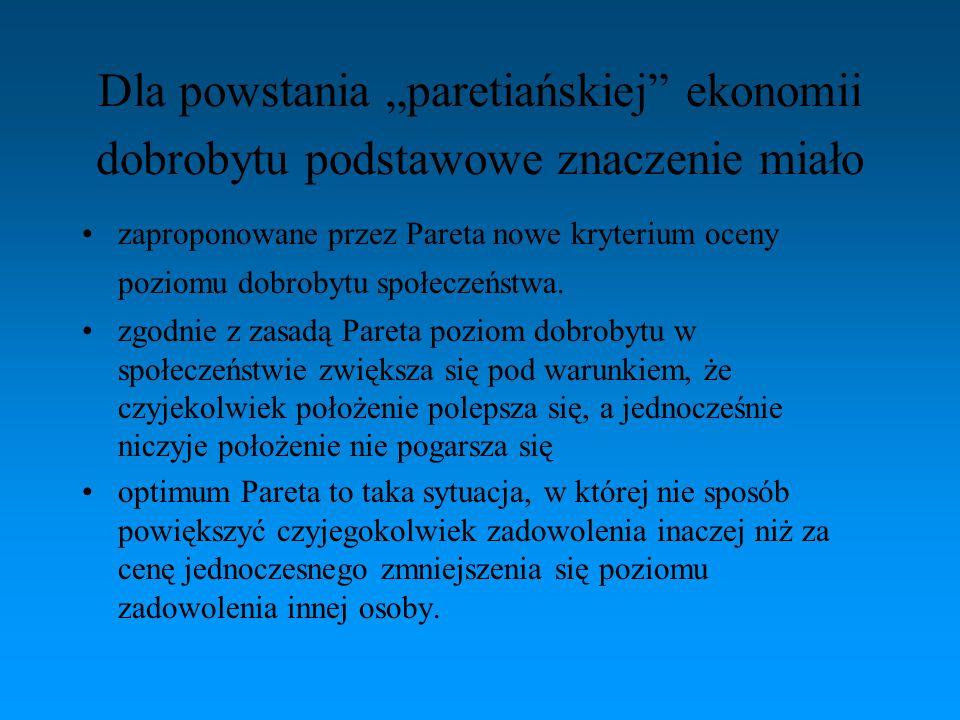 """Dla powstania """"paretiańskiej"""" ekonomii dobrobytu podstawowe znaczenie miało zaproponowane przez Pareta nowe kryterium oceny poziomu dobrobytu społecze"""