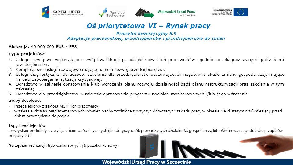 Wojewódzki Urząd Pracy w Szczecinie Oś priorytetowa VI – Rynek pracy Priorytet inwestycyjny 8.9 Adaptacja pracowników, przedsiębiorstw i przedsiębiorc