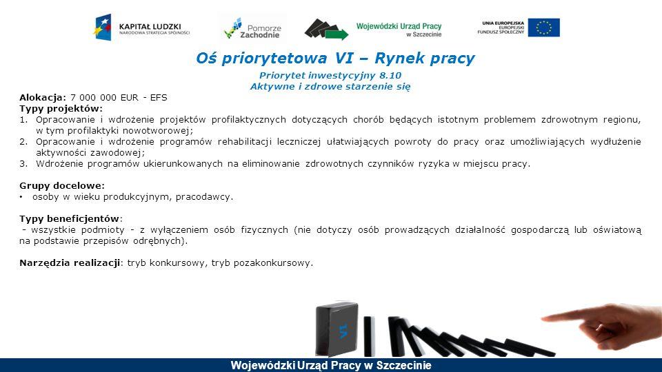 Wojewódzki Urząd Pracy w Szczecinie Oś priorytetowa VI – Rynek pracy Priorytet inwestycyjny 8.10 Aktywne i zdrowe starzenie się Alokacja: 7 000 000 EU