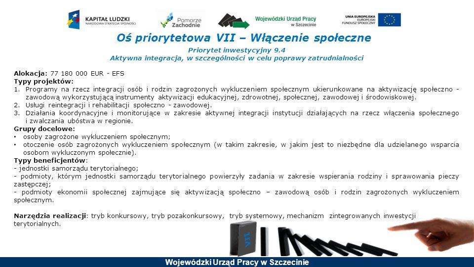 Wojewódzki Urząd Pracy w Szczecinie Oś priorytetowa VII – Włączenie społeczne Priorytet inwestycyjny 9.4 Aktywna integracja, w szczególności w celu po