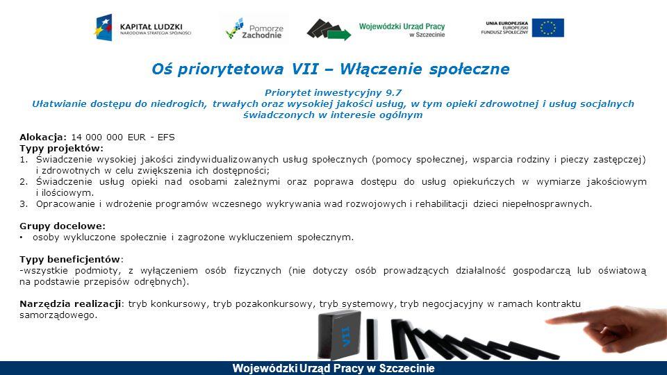 Wojewódzki Urząd Pracy w Szczecinie Oś priorytetowa VII – Włączenie społeczne Priorytet inwestycyjny 9.7 Ułatwianie dostępu do niedrogich, trwałych or