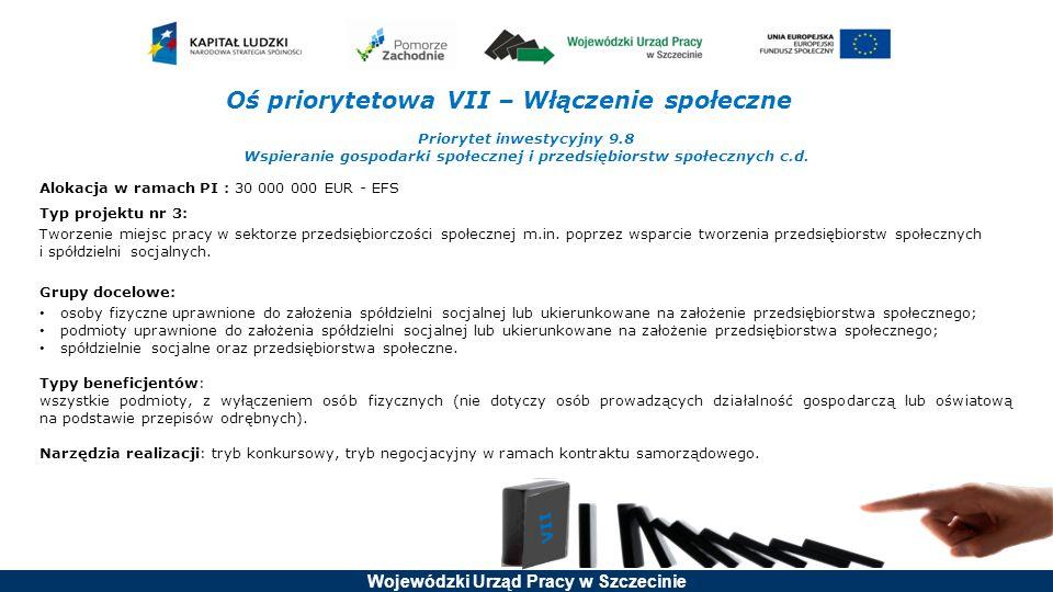 Wojewódzki Urząd Pracy w Szczecinie Oś priorytetowa VII – Włączenie społeczne Priorytet inwestycyjny 9.8 Wspieranie gospodarki społecznej i przedsiębi