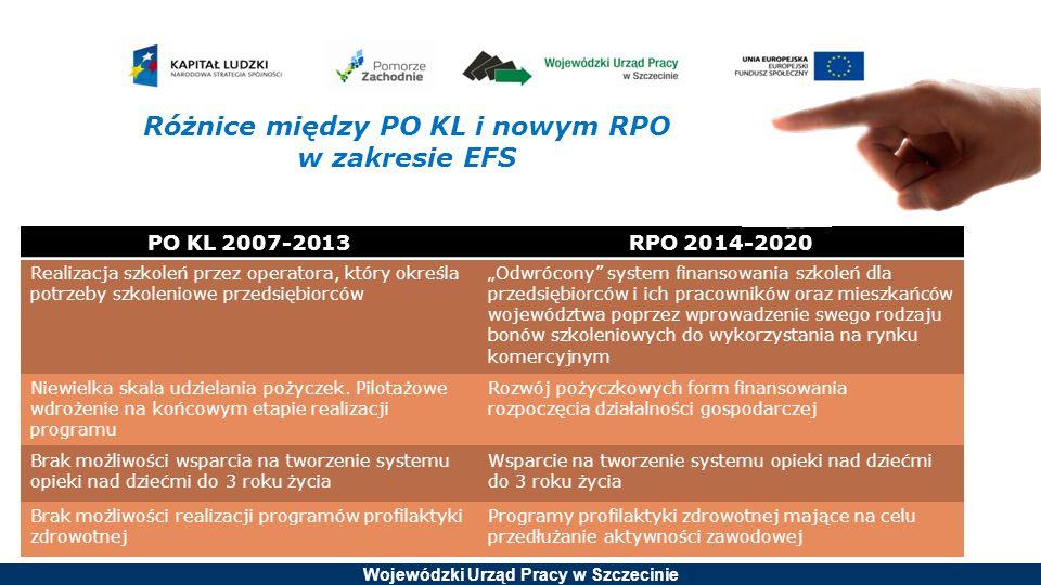 Wojewódzki Urząd Pracy w Szczecinie PO KL 2007-2013RPO 2014-2020 Realizacja szkoleń przez operatora, który określa potrzeby szkoleniowe przedsiębiorcó