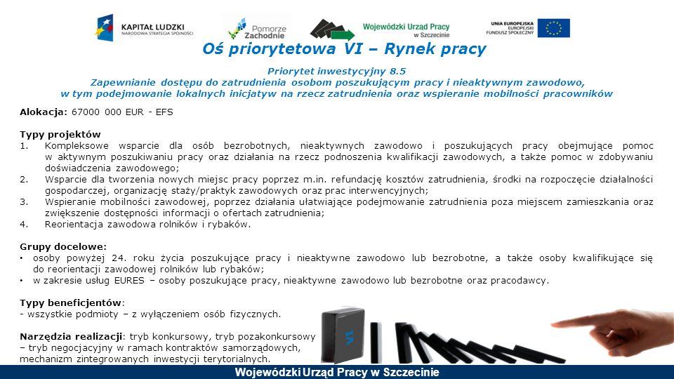 Wojewódzki Urząd Pracy w Szczecinie Oś priorytetowa VI – Rynek pracy Priorytet inwestycyjny 8.5 Zapewnianie dostępu do zatrudnienia osobom poszukujący