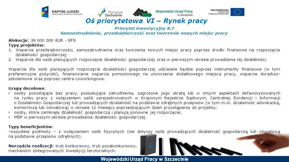 Wojewódzki Urząd Pracy w Szczecinie Oś priorytetowa VI – Rynek pracy Priorytet inwestycyjny 8.7 Samozatrudnienie, przedsiębiorczość oraz tworzenie now