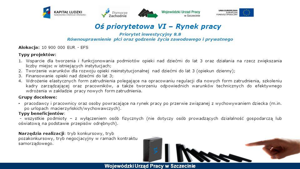 Wojewódzki Urząd Pracy w Szczecinie Oś priorytetowa VI – Rynek pracy Priorytet inwestycyjny 8.9 Adaptacja pracowników, przedsiębiorstw i przedsiębiorców do zmian Alokacja: 46 000 000 EUR - EFS Typy projektów: 1.Usługi rozwojowe wspierające rozwój kwalifikacji przedsiębiorców i ich pracowników zgodnie ze zdiagnozowanymi potrzebami przedsiębiorstw; 2.Kompleksowe usługi rozwojowe mające na celu rozwój przedsiębiorstwa; 3.Usługi diagnostyczne, doradztwo, szkolenia dla przedsiębiorstw odczuwających negatywne skutki zmiany gospodarczej, mające na celu zapobieganie sytuacji kryzysowej; 4.Doradztwo w zakresie opracowania i/lub wdrożenia planu rozwoju działalności bądź planu restrukturyzacji oraz szkolenia w tym zakresie; 5.Doradztwo dla przedsiębiorstw w zakresie opracowania programu zwolnień monitorowanych i/lub jego wdrożenie.