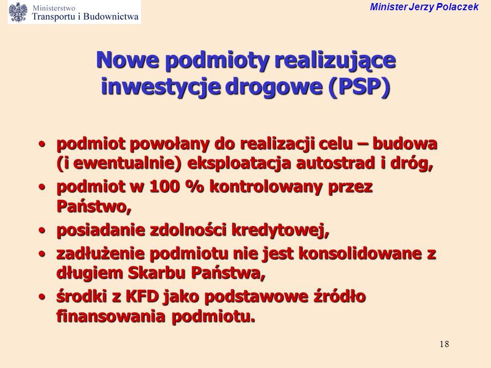 18 Minister Jerzy Polaczek Nowe podmioty realizujące inwestycje drogowe (PSP) podmiot powołany do realizacji celu – budowa (i ewentualnie) eksploatacj