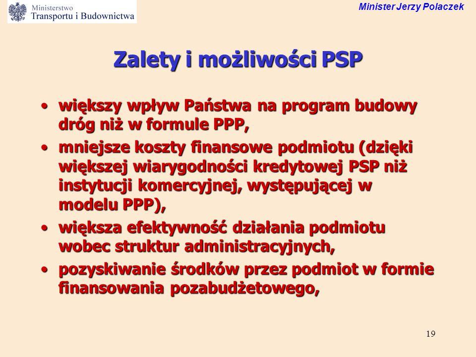 19 Minister Jerzy Polaczek Zalety i możliwości PSP większy wpływ Państwa na program budowy dróg niż w formule PPP,większy wpływ Państwa na program bud
