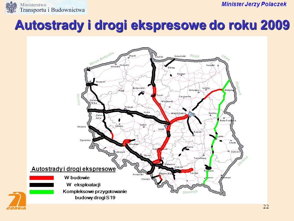 22 Minister Jerzy Polaczek Autostrady i drogi ekspresowe do roku 2009 W eksploatacji W budowie Autostrady i drogi ekspresowe Kompleksowe przygotowanie