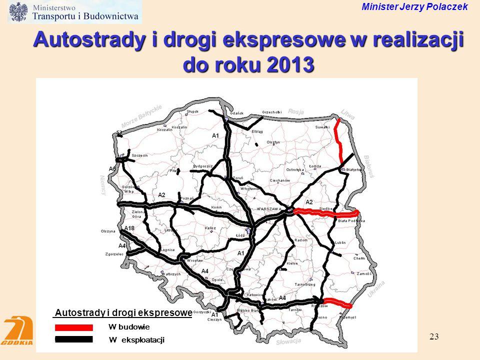 23 Minister Jerzy Polaczek Autostrady i drogi ekspresowe w realizacji do roku 2013 W budowie W eksploatacji Autostrady i drogi ekspresowe