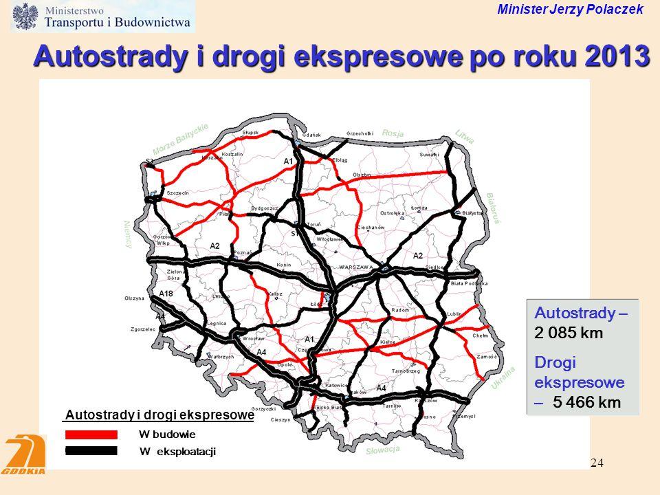 24 Autostrady i drogi ekspresowe po roku 2013 Minister Jerzy Polaczek W budowie W eksploatacji Autostrady i drogi ekspresowe Autostrady – 2 085 km Dro