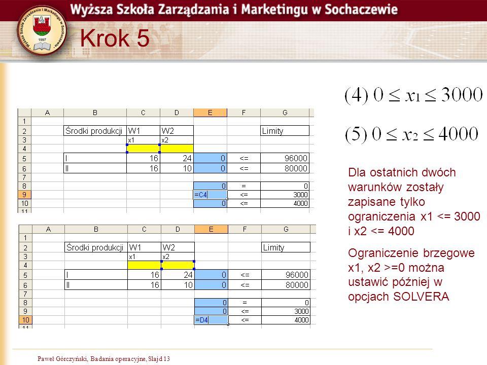 Paweł Górczyński, Badania operacyjne, Slajd 13 Krok 5 Dla ostatnich dwóch warunków zostały zapisane tylko ograniczenia x1 <= 3000 i x2 <= 4000 Ogranic