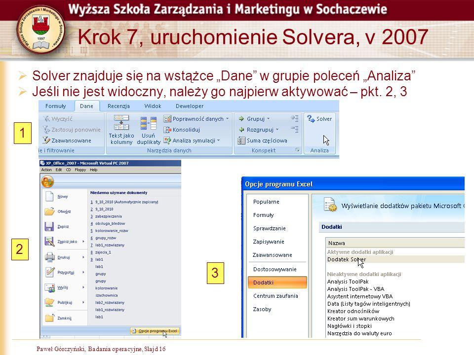 """Paweł Górczyński, Badania operacyjne, Slajd 16 Krok 7, uruchomienie Solvera, v 2007  Solver znajduje się na wstążce """"Dane"""" w grupie poleceń """"Analiza"""""""
