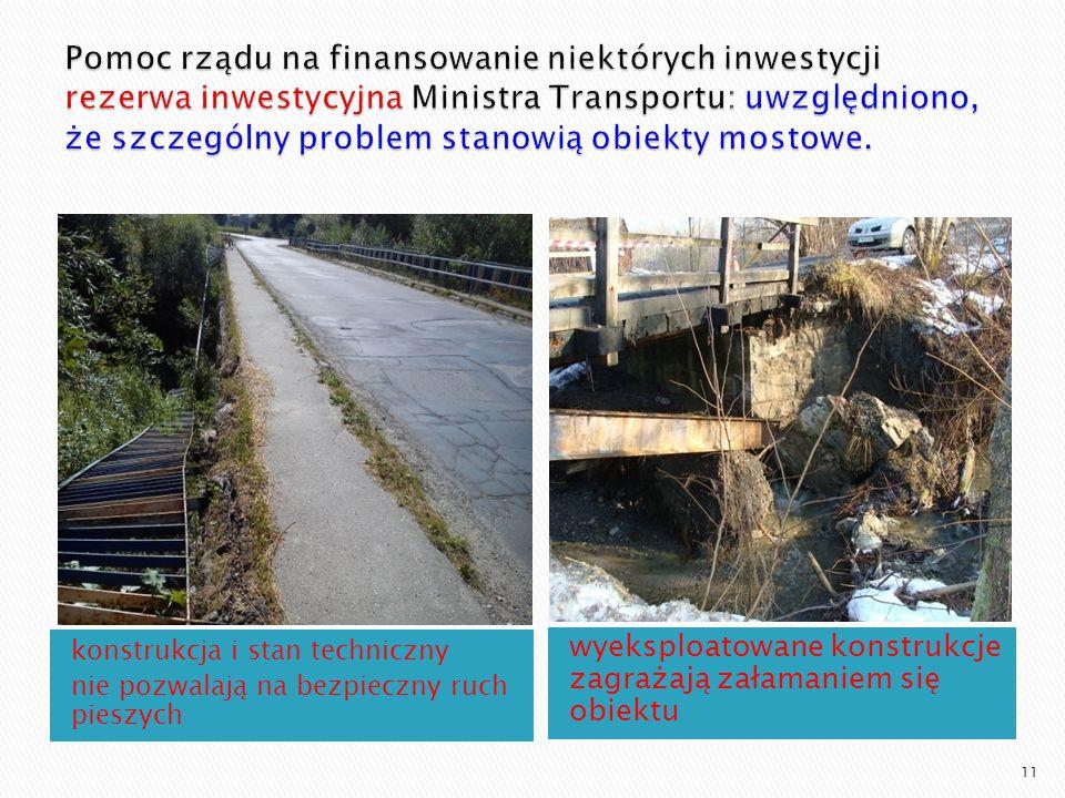 konstrukcja i stan techniczny nie pozwalają na bezpieczny ruch pieszych wyeksploatowane konstrukcje zagrażają załamaniem się obiektu 11