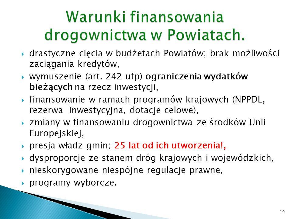  drastyczne cięcia w budżetach Powiatów; brak możliwości zaciągania kredytów,  wymuszenie (art. 242 ufp) ograniczenia wydatków bieżących na rzecz in