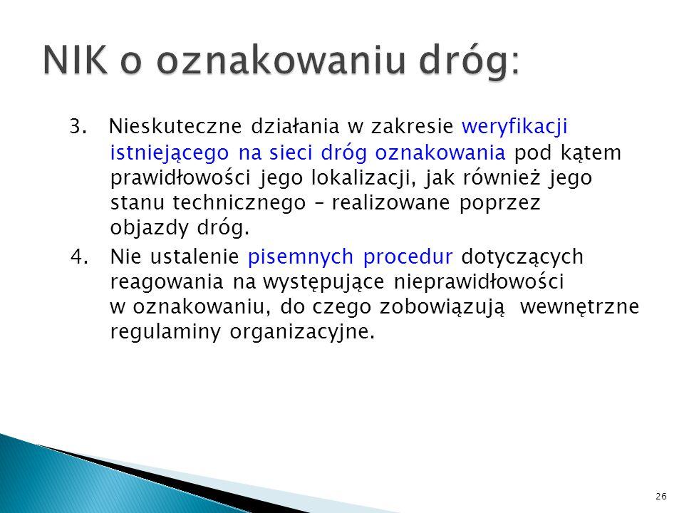 3. Nieskuteczne działania w zakresie weryfikacji istniejącego na sieci dróg oznakowania pod kątem prawidłowości jego lokalizacji, jak również jego sta
