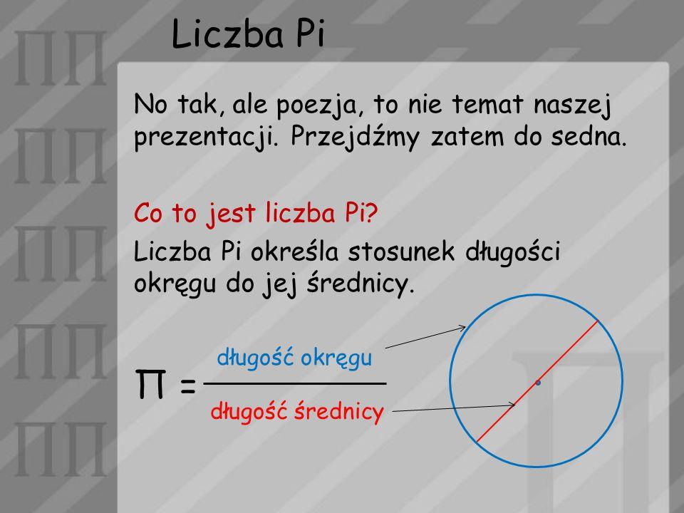 Liczba Pi No tak, ale poezja, to nie temat naszej prezentacji. Przejdźmy zatem do sedna. Co to jest liczba Pi? Liczba Pi określa stosunek długości okr