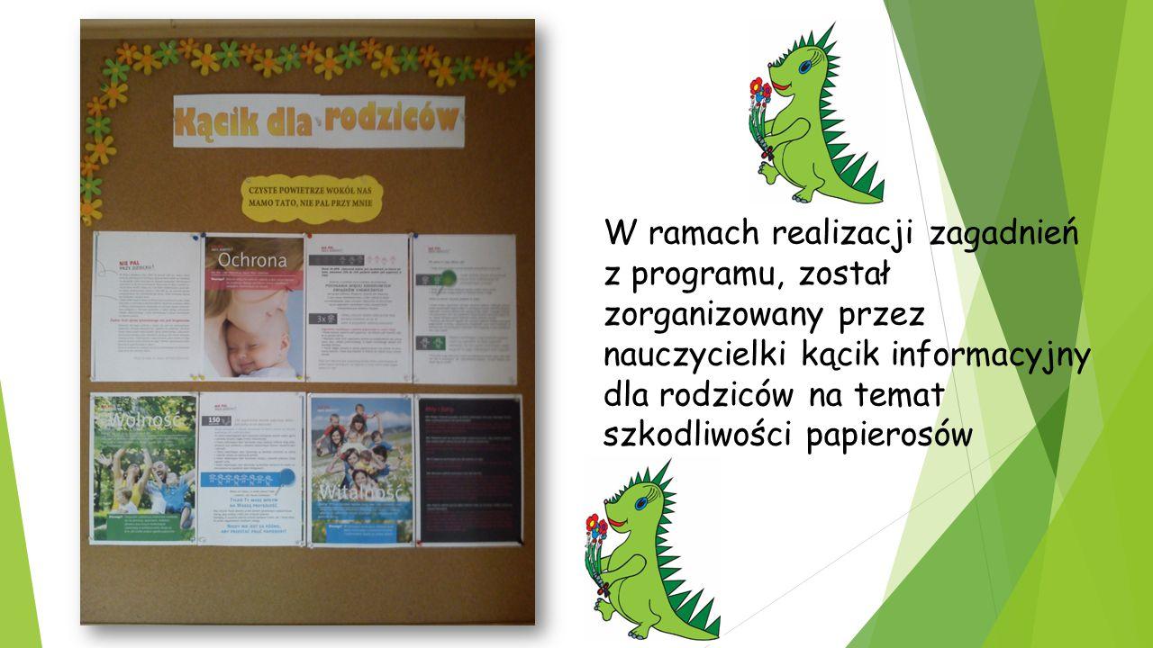  Pierwszą z form realizacji programu było zapoznanie rodziców z założeniami projektu edukacyjnego.  Kolejną formą realizacji programu był cykl zajęć