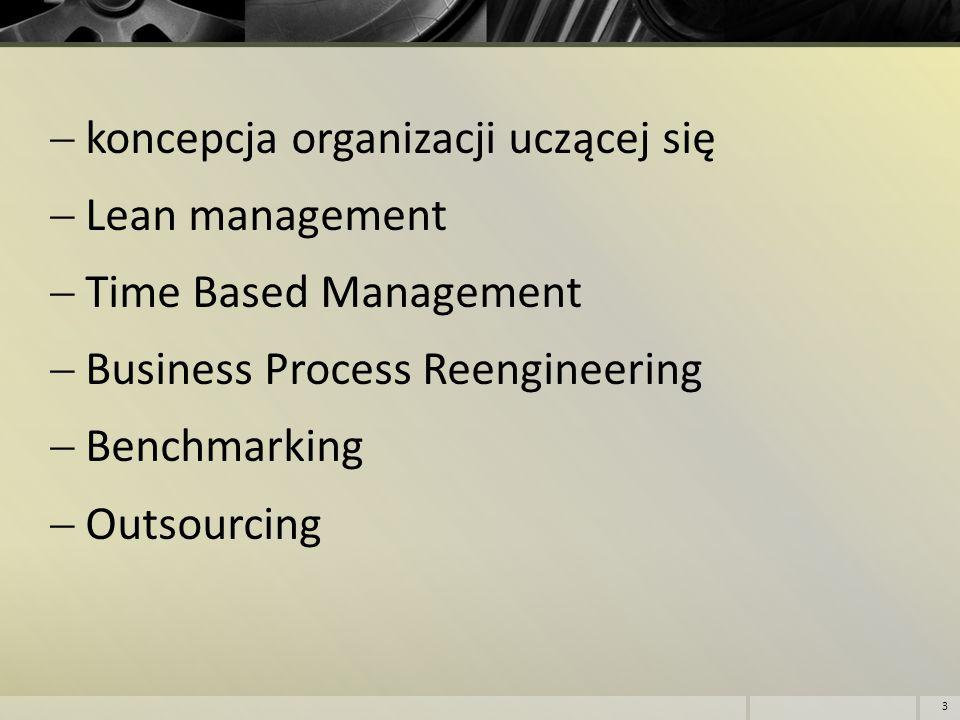  koncepcja organizacji uczącej się  Lean management  Time Based Management  Business Process Reengineering  Benchmarking  Outsourcing 3