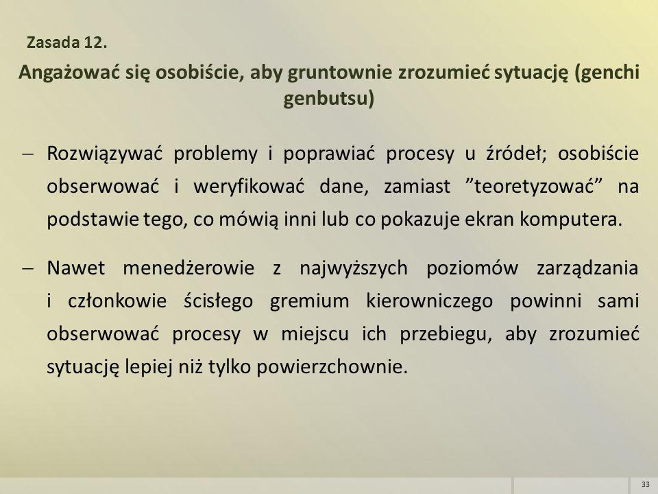 Angażować się osobiście, aby gruntownie zrozumieć sytuację (genchi genbutsu) Zasada 12.  Rozwiązywać problemy i poprawiać procesy u źródeł; osobiście