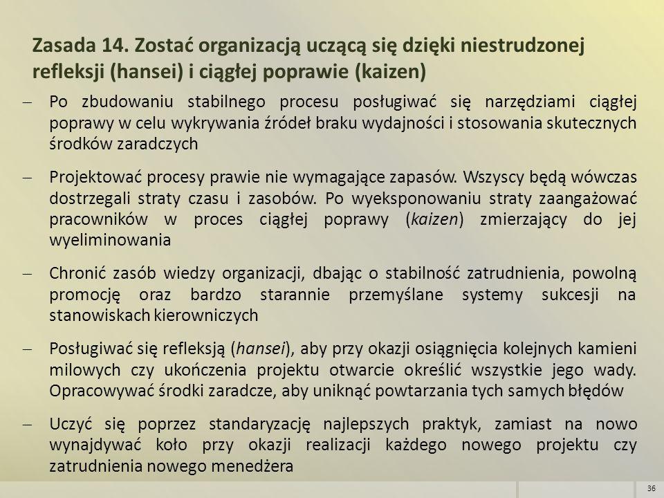 Zasada 14. Zostać organizacją uczącą się dzięki niestrudzonej refleksji (hansei) i ciągłej poprawie (kaizen)  Po zbudowaniu stabilnego procesu posług