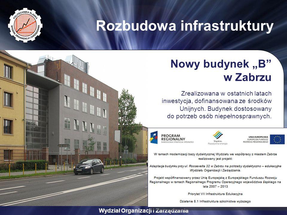 """Wydział Organizacji i Zarządzania Rozbudowa infrastruktury Nowy budynek """"B w Zabrzu Zrealizowana w ostatnich latach inwestycja, dofinansowana ze środków Unijnych."""