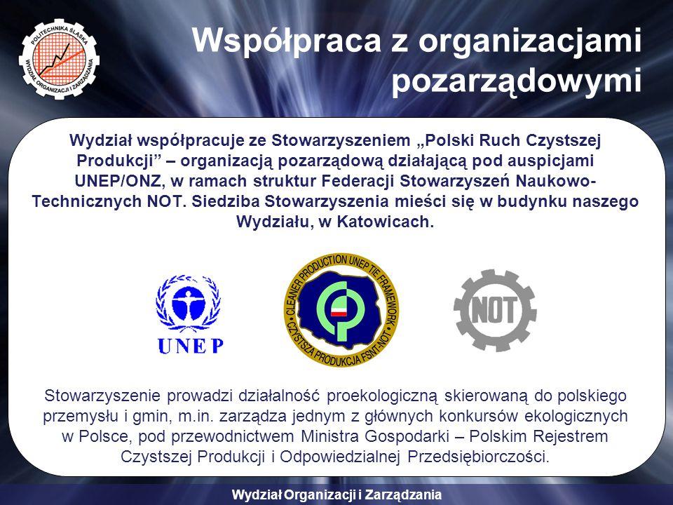 """Wydział Organizacji i Zarządzania Współpraca z organizacjami pozarządowymi Wydział współpracuje ze Stowarzyszeniem """"Polski Ruch Czystszej Produkcji"""" –"""