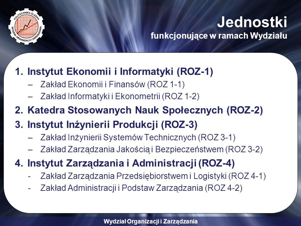 Wydział Organizacji i Zarządzania Jednostki funkcjonujące w ramach Wydziału 1.Instytut Ekonomii i Informatyki (ROZ-1) –Zakład Ekonomii i Finansów (ROZ 1-1) –Zakład Informatyki i Ekonometrii (ROZ 1-2) 2.Katedra Stosowanych Nauk Społecznych (ROZ-2) 3.Instytut Inżynierii Produkcji (ROZ-3) –Zakład Inżynierii Systemów Technicznych (ROZ 3-1) –Zakład Zarządzania Jakością i Bezpieczeństwem (ROZ 3-2) 4.Instytut Zarządzania i Administracji (ROZ-4) -Zakład Zarządzania Przedsiębiorstwem i Logistyki (ROZ 4-1) -Zakład Administracji i Podstaw Zarządzania (ROZ 4-2)