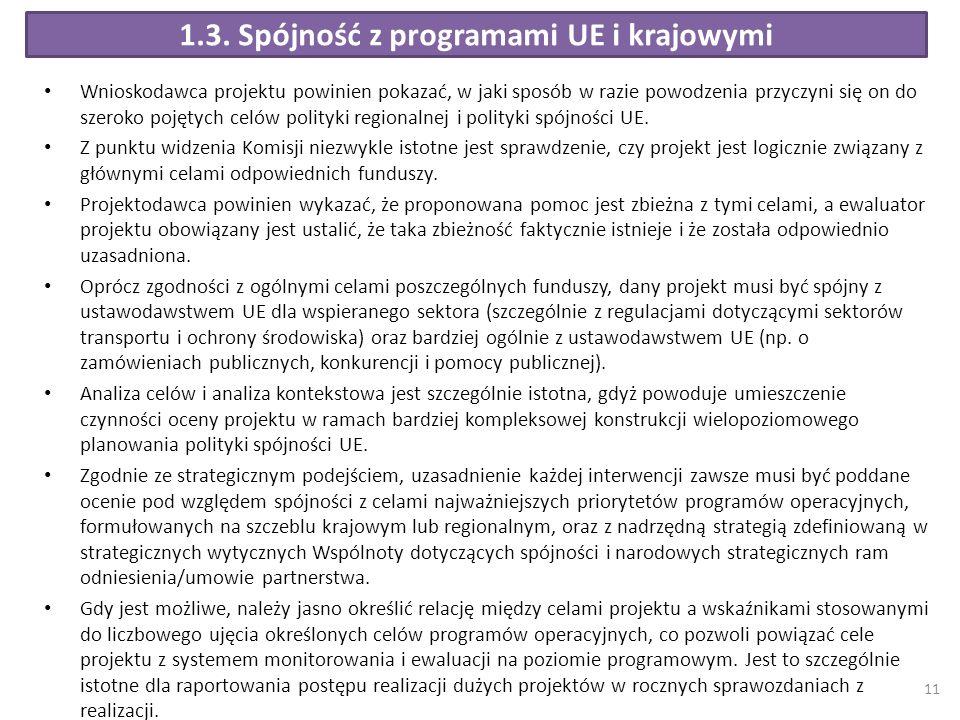 1.3. Spójność z programami UE i krajowymi Wnioskodawca projektu powinien pokazać, w jaki sposób w razie powodzenia przyczyni się on do szeroko pojętyc
