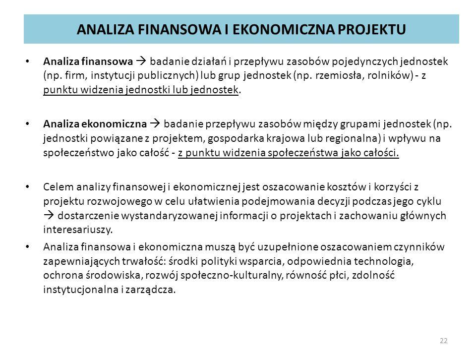 ANALIZA FINANSOWA I EKONOMICZNA PROJEKTU Analiza finansowa  badanie działań i przepływu zasobów pojedynczych jednostek (np. firm, instytucji publiczn