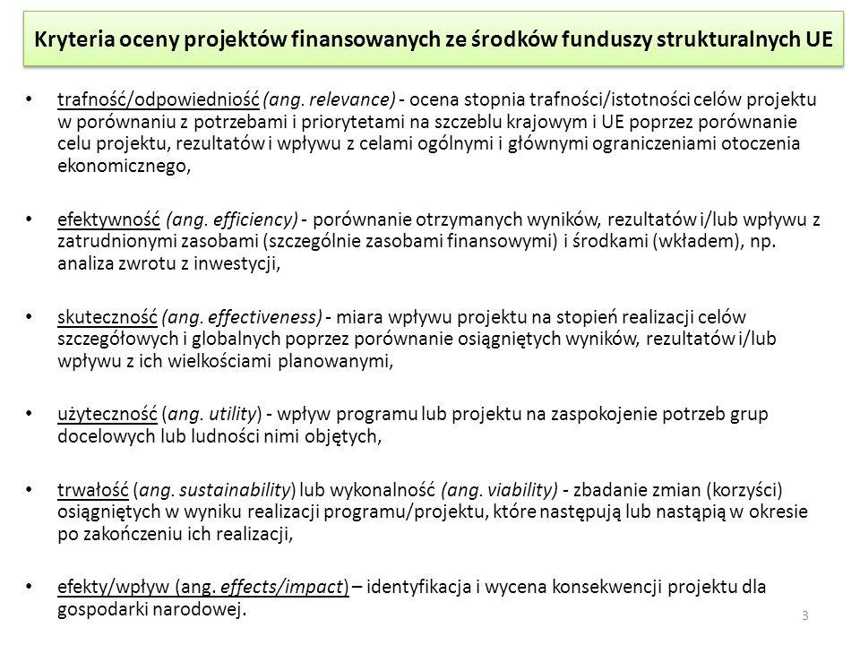 Kryteria oceny projektów finansowanych ze środków funduszy strukturalnych UE trafność/odpowiedniość (ang. relevance) - ocena stopnia trafności/istotno