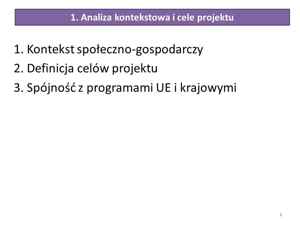 1. Analiza kontekstowa i cele projektu 1. Kontekst społeczno-gospodarczy 2. Definicja celów projektu 3. Spójność z programami UE i krajowymi 8
