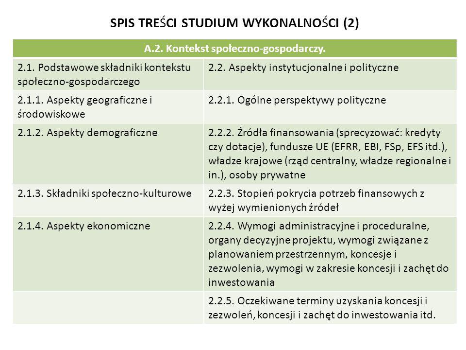 SPIS TREŚCI STUDIUM WYKONALNOŚCI (2) A.2. Kontekst społeczno-gospodarczy. 2.1. Podstawowe składniki kontekstu społeczno-gospodarczego 2.2. Aspekty ins