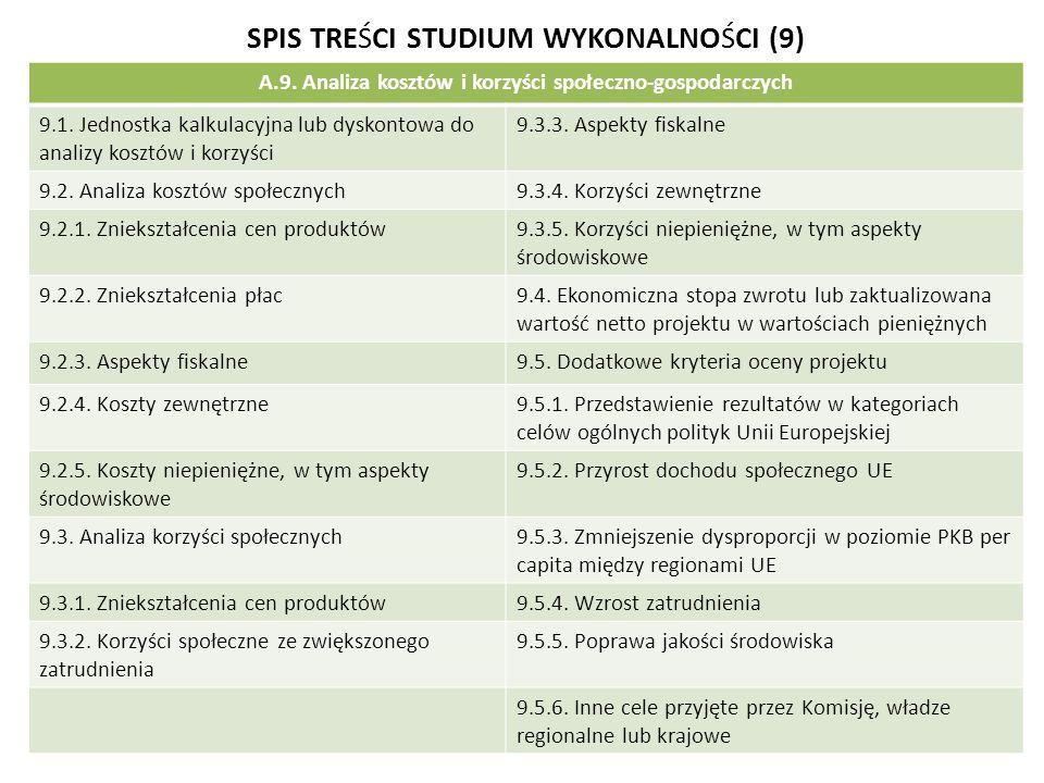 SPIS TREŚCI STUDIUM WYKONALNOŚCI (9) A.9. Analiza kosztów i korzyści społeczno-gospodarczych 9.1. Jednostka kalkulacyjna lub dyskontowa do analizy kos