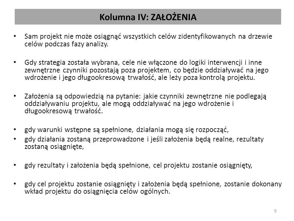 Kolumna IV: ZAŁOŻENIA Sam projekt nie może osiągnąć wszystkich celów zidentyfikowanych na drzewie celów podczas fazy analizy. Gdy strategia została wy