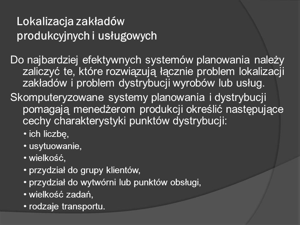 Lokalizacja zakładów produkcyjnych i usługowych Do najbardziej efektywnych systemów planowania należy zaliczyć te, które rozwiązują łącznie problem lokalizacji zakładów i problem dystrybucji wyrobów lub usług.