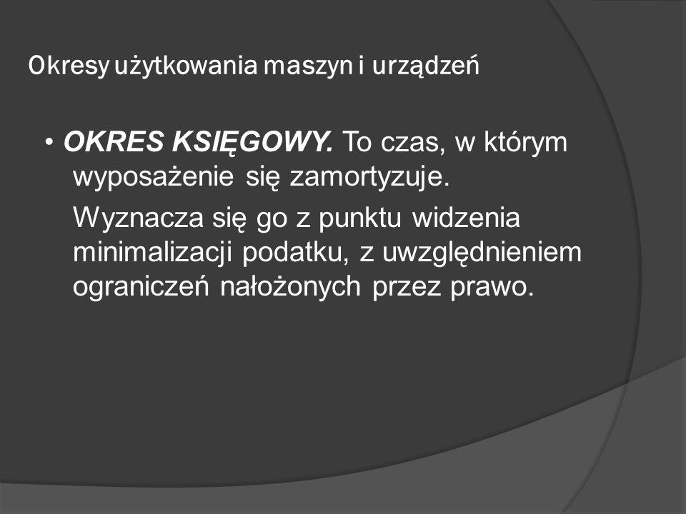 Okresy użytkowania maszyn i urządzeń OKRES KSIĘGOWY.