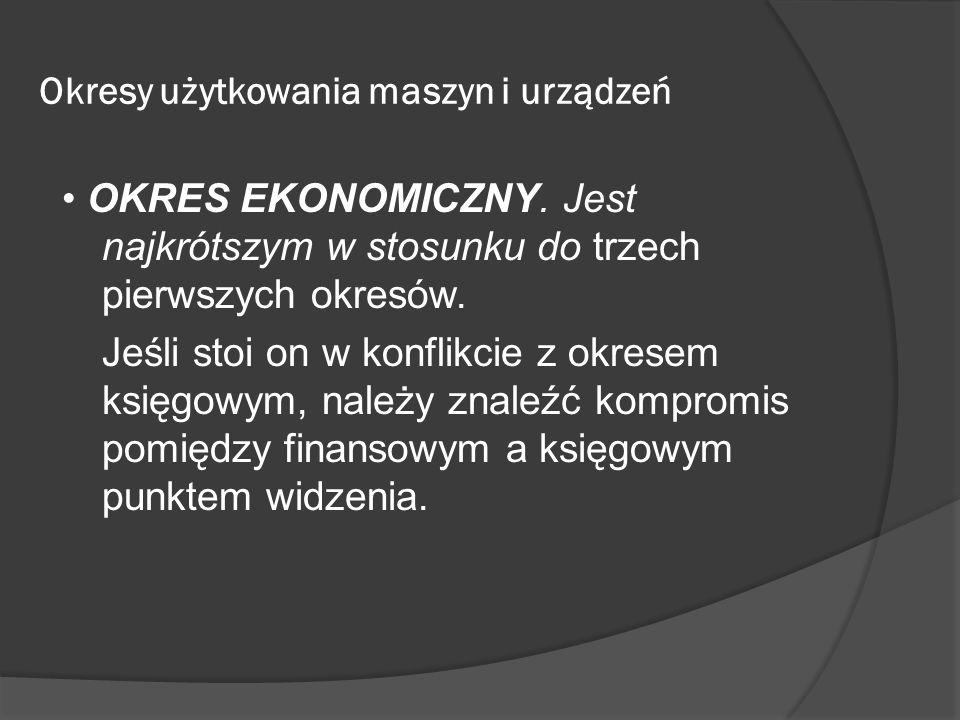 Okresy użytkowania maszyn i urządzeń OKRES EKONOMICZNY. Jest najkrótszym w stosunku do trzech pierwszych okresów. Jeśli stoi on w konflikcie z okresem