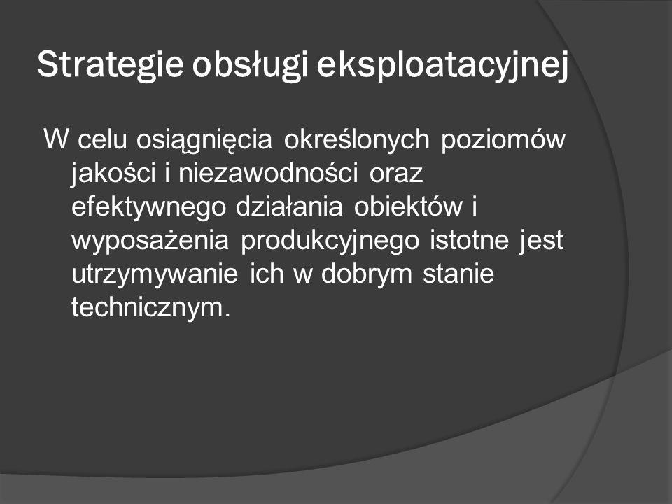 Strategie obsługi eksploatacyjnej W celu osiągnięcia określonych poziomów jakości i niezawodności oraz efektywnego działania obiektów i wyposażenia pr