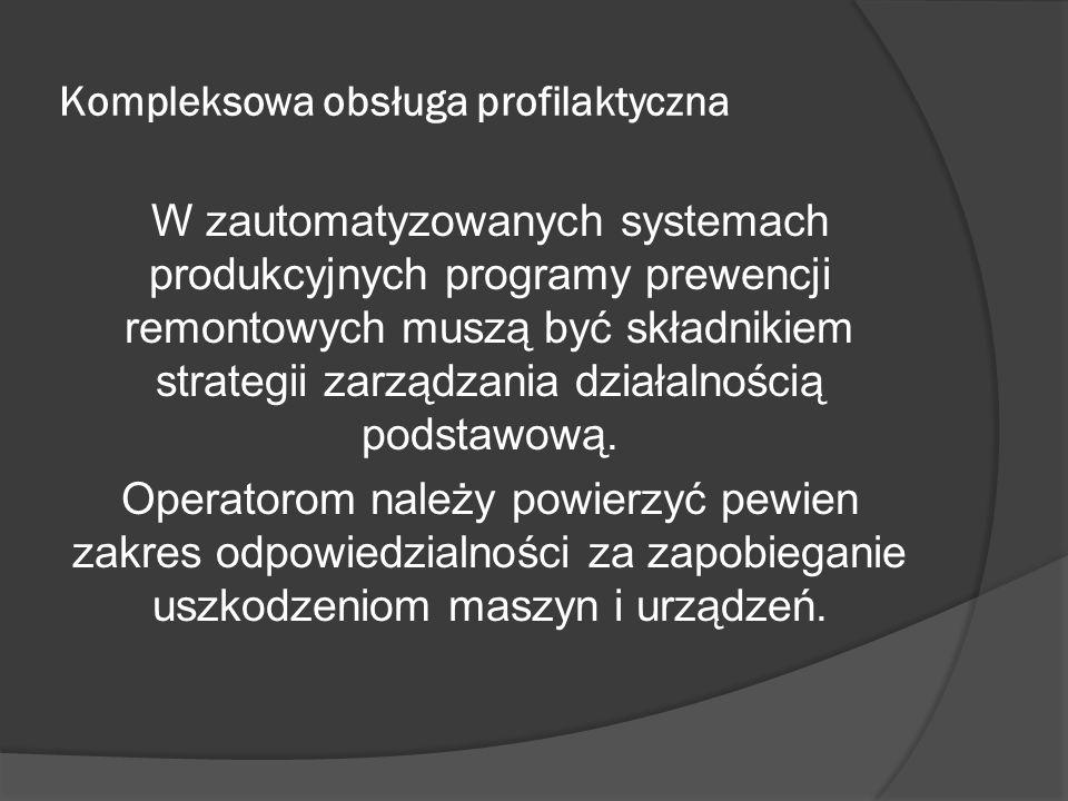 Kompleksowa obsługa profilaktyczna W zautomatyzowanych systemach produkcyjnych programy prewencji remontowych muszą być składnikiem strategii zarządzania działalnością podstawową.