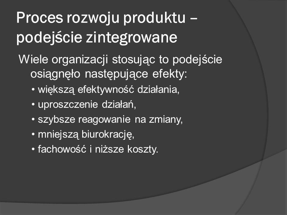 Proces rozwoju produktu – podejście zintegrowane Wiele organizacji stosując to podejście osiągnęło następujące efekty: większą efektywność działania, uproszczenie działań, szybsze reagowanie na zmiany, mniejszą biurokrację, fachowość i niższe koszty.