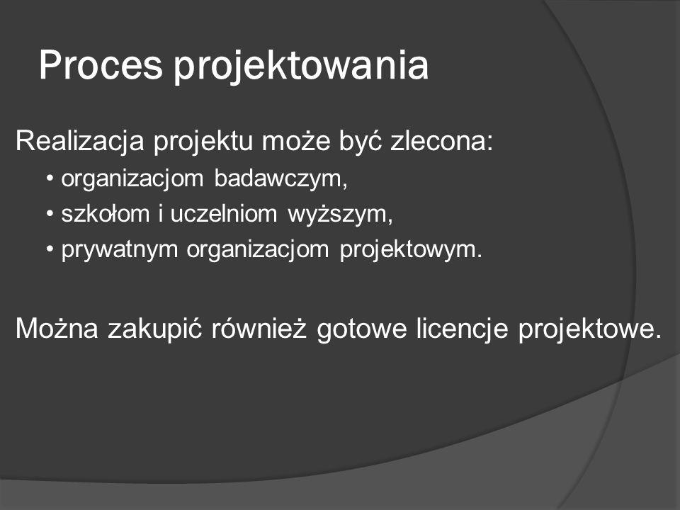 Proces projektowania Realizacja projektu może być zlecona: organizacjom badawczym, szkołom i uczelniom wyższym, prywatnym organizacjom projektowym.