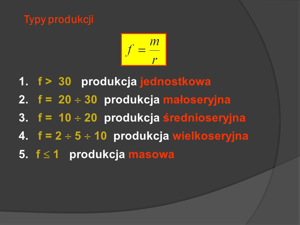 Typy produkcji 1. f > 30 produkcja jednostkowa 2. f = 20  30 produkcja małoseryjna 3. f = 10  20 produkcja średnioseryjna 4. f = 2  5  10 produkcj