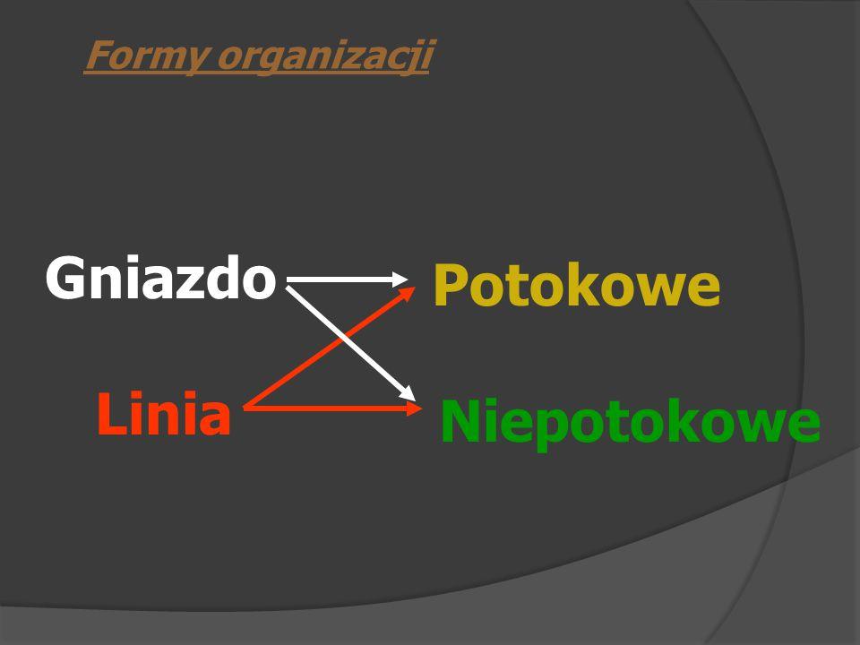 Gniazdo Linia Potokowe Formy organizacji Niepotokowe