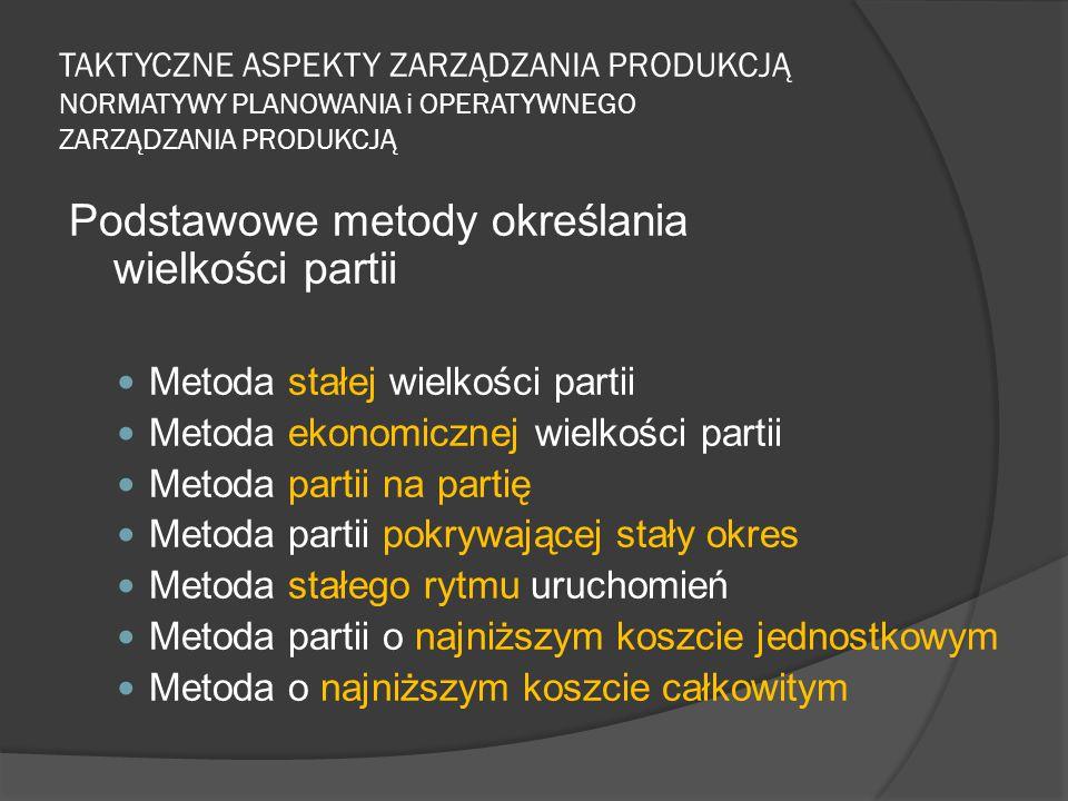 TAKTYCZNE ASPEKTY ZARZĄDZANIA PRODUKCJĄ NORMATYWY PLANOWANIA i OPERATYWNEGO ZARZĄDZANIA PRODUKCJĄ Podstawowe metody określania wielkości partii Metoda stałej wielkości partii Metoda ekonomicznej wielkości partii Metoda partii na partię Metoda partii pokrywającej stały okres Metoda stałego rytmu uruchomień Metoda partii o najniższym koszcie jednostkowym Metoda o najniższym koszcie całkowitym